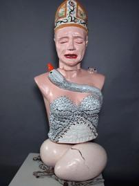 """Sanctimony, 2009 (46""""h x 16""""w x 16""""h) Ceramic"""