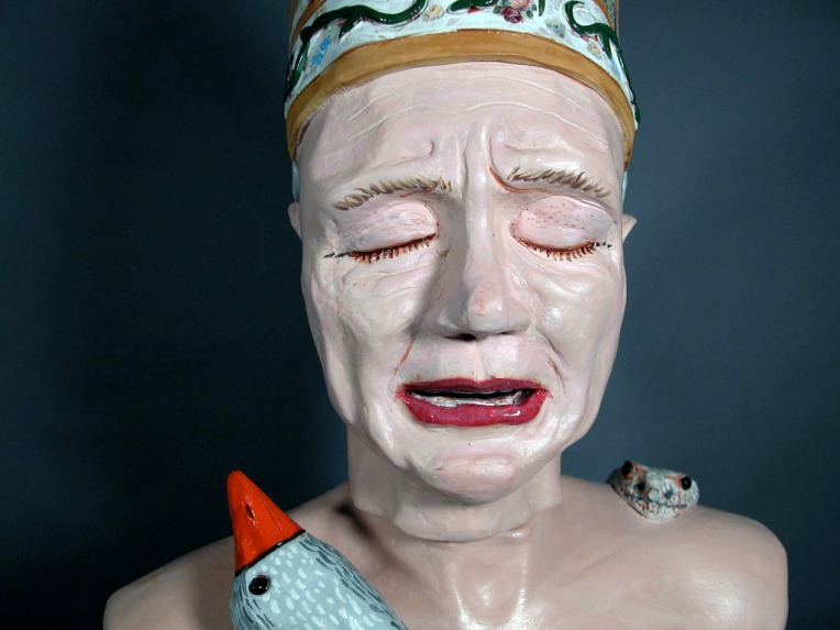 """Sanctimony"" by Lee Puffer. Ceramic and mixed media, life size."