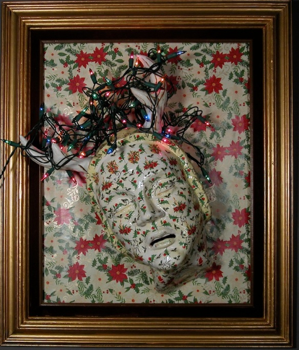 """Rapture"" Ceramic wall piece with fired decals on mixed media panel with christmas lights."