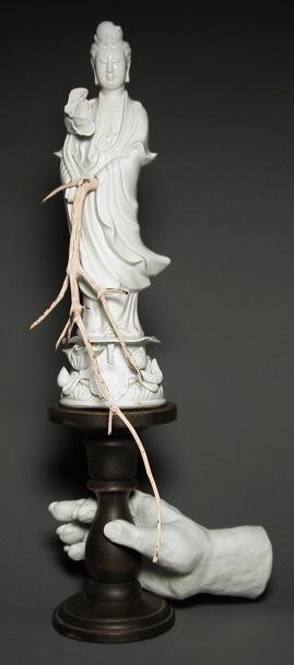 Alchemy, by Lee Puffer. Ceramic, found object, Manzanita branch.