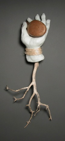Shoe Tree, by Lee Puffer. Ceramic, found object and Manzanita branch.