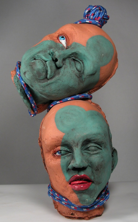 Tension, by Lee Puffer. Ceramic and rope.