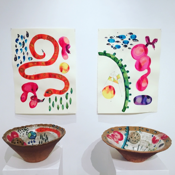 "Two Large Ceramic Vessels and drawings from series ""The Fermi Paradox"" by Lee Puffer 2015.  At the Boehm Gallery, Palomar College, San Marcos CA."