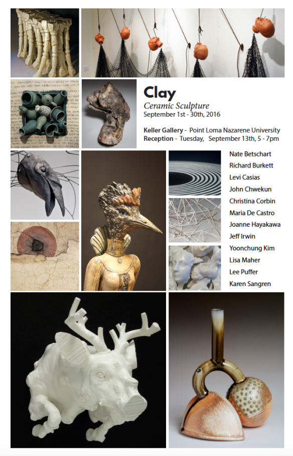 Exhibition Announcement. Contemporary Ceramic Sculpture at Point Loma Nazarene University Keller Art Gallery