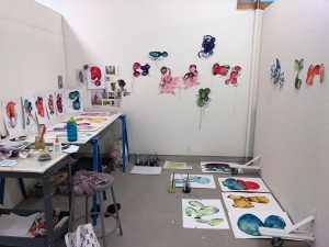 Lee Puffer Studio view with works in progress