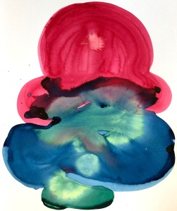 Colorful abstract contemporary watercolor drawing/painting by Lee Puffer